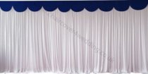 6M Pleated White Wedding Backdrop Curtain with Navy Swag
