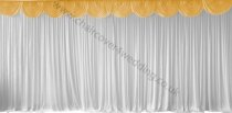 6M Pleated White Wedding Backdrop Curtain with  Gold Swag