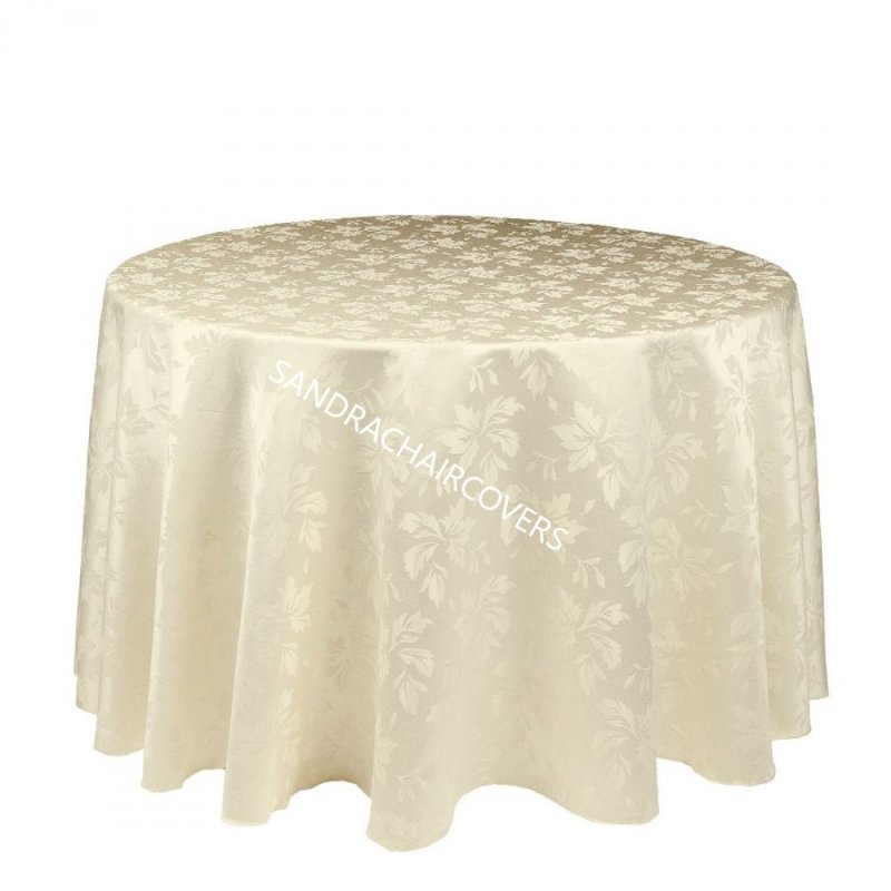 "120"" Round Table Cloths Ivy Leaf Ivory"