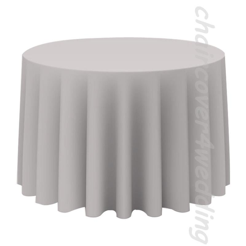 "120"" Round Table Cloth Polyester Silver"