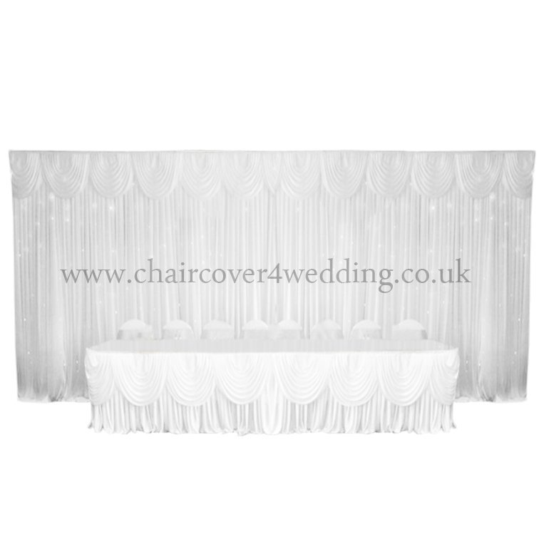 Silk Backdrop Curtain with swags (6m x 3m) White-13pcs