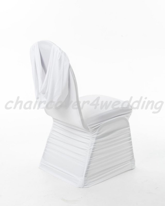 Spandex Ruched Swag Back Chair Cover White