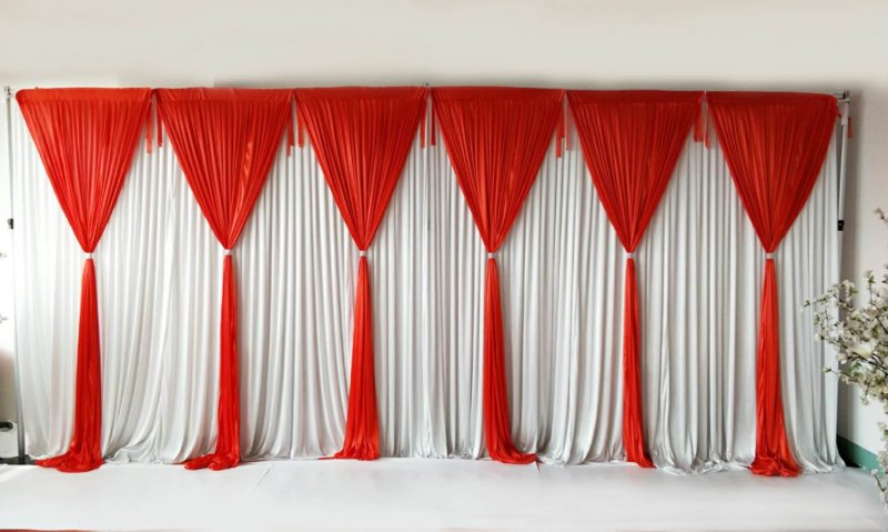 6 Panel Detachable Red Grecian Overlay for Wedding Backdrop --1M X 3M EACH