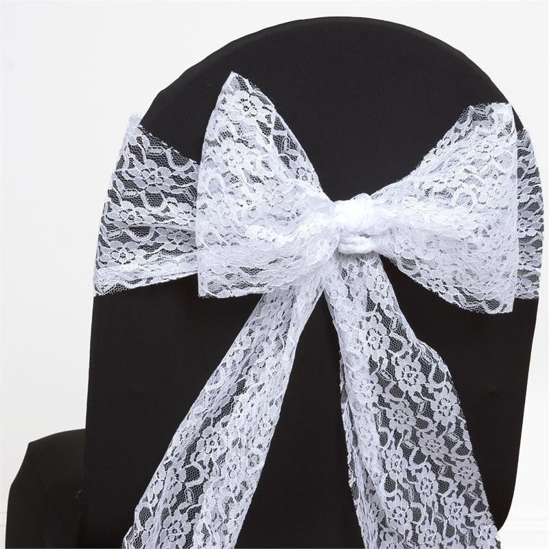 Lace Sash White -Unhemmed Edges