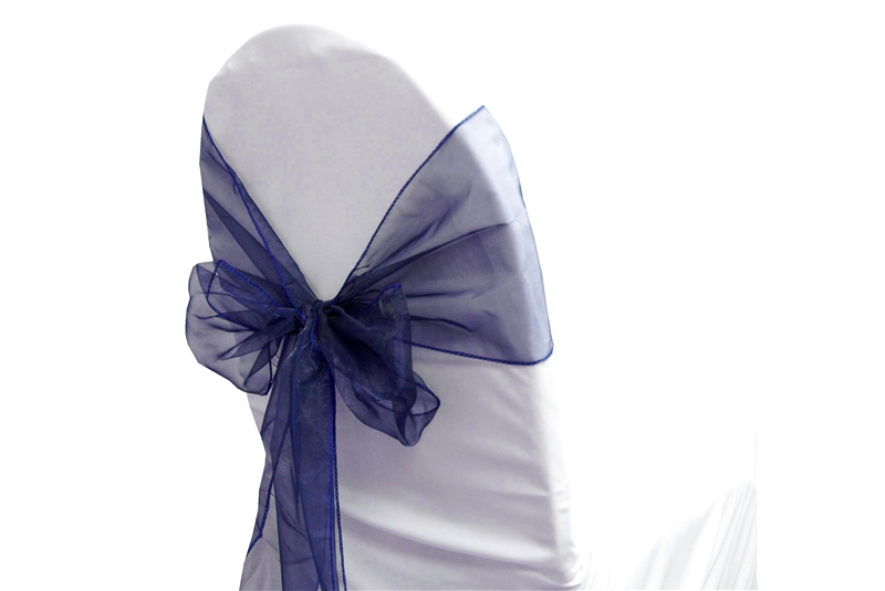 Organza Sash Navy Blue -Stiff Feel