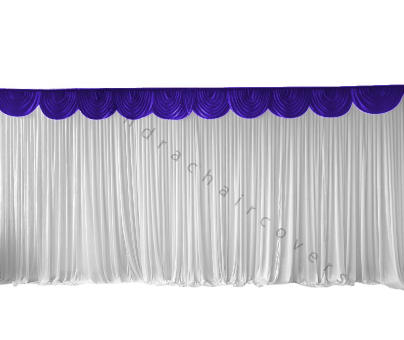 6M Pleated White Wedding Backdrop Curtain with Purple Swag
