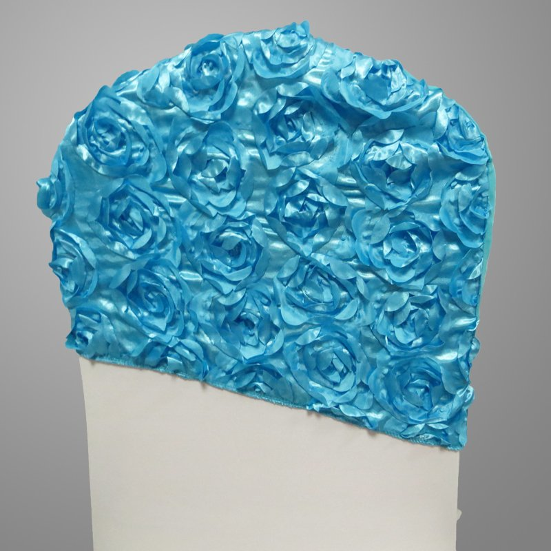 Blue Satin Rosette Spandex Chair Cap/ Chair Hood
