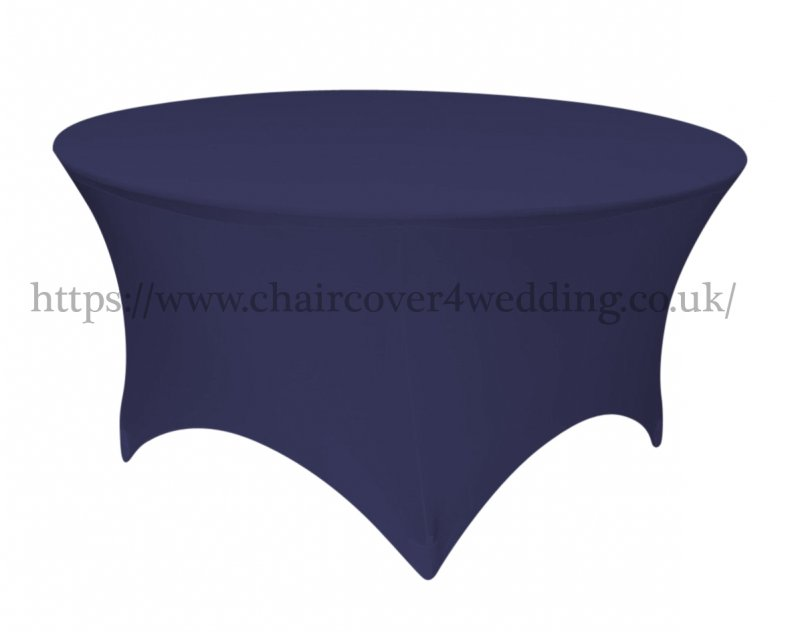 Premium Navy Round Spandex Tablecloth -6 foot