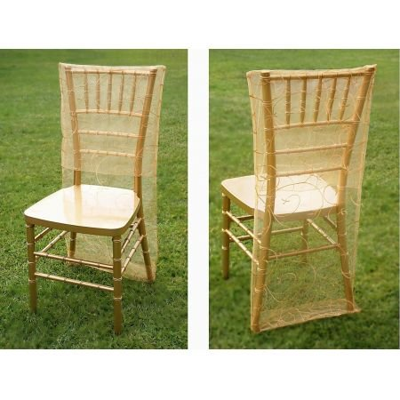 Embroidered Chair Slipcover-Gold