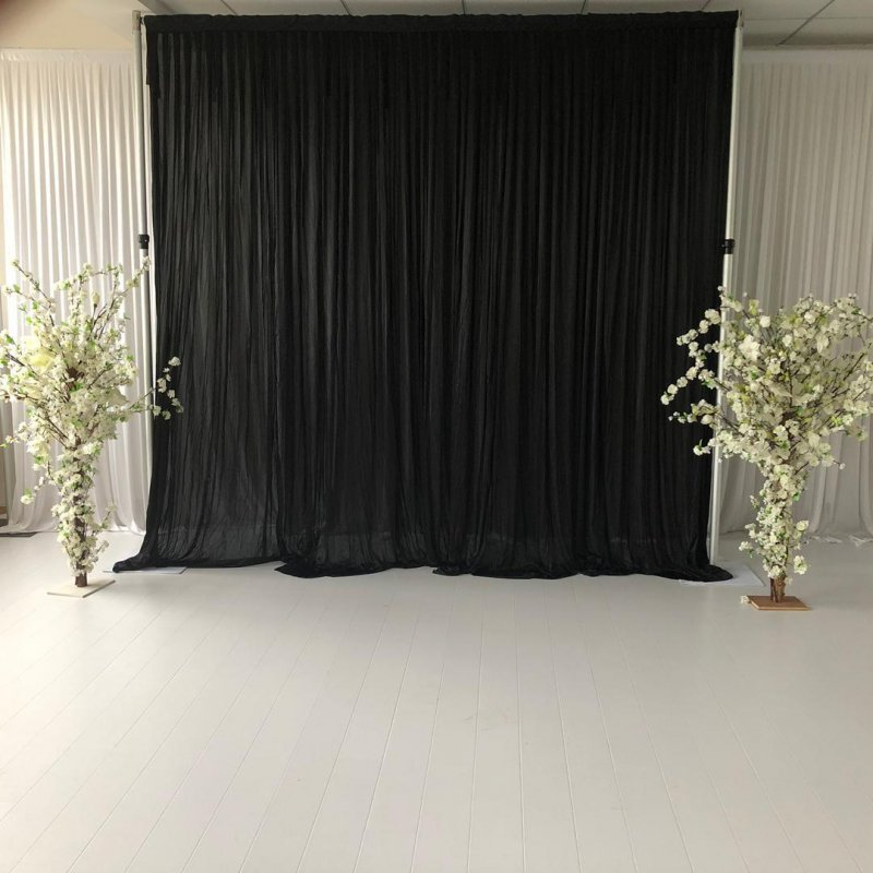 3M x 3M Black Pleated Backdrop Curtain