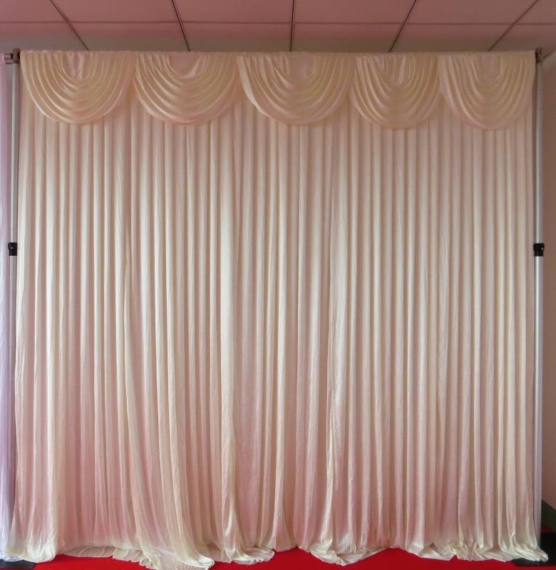 Silk Backdrop Curtain with swags (6m x 3m) Ivory