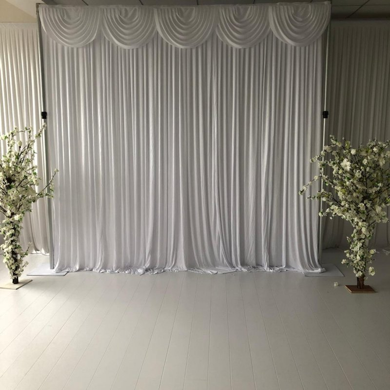 White Silk Wedding Backdrop with swags and lights (3m x 3m)