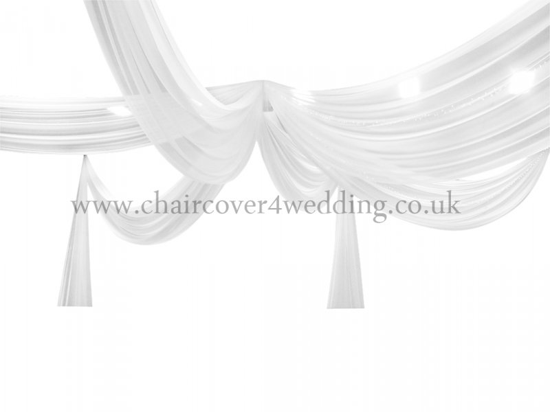 40ft 6-Panel Voile Sheer Fabric Ceiling Draping White