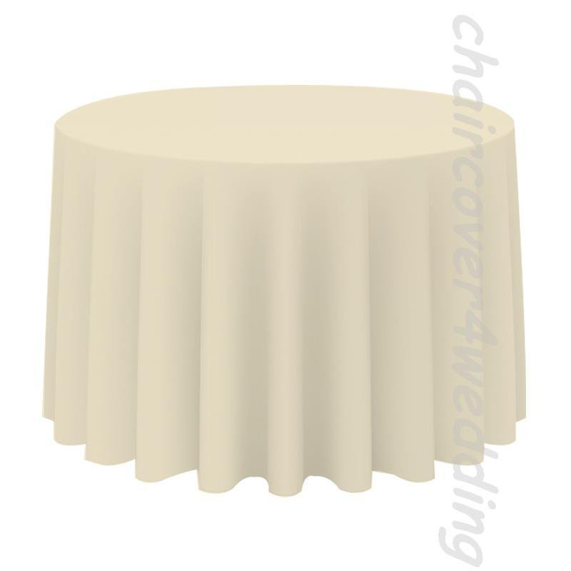 "90"" Round Table Cloth Polyester Ivory"