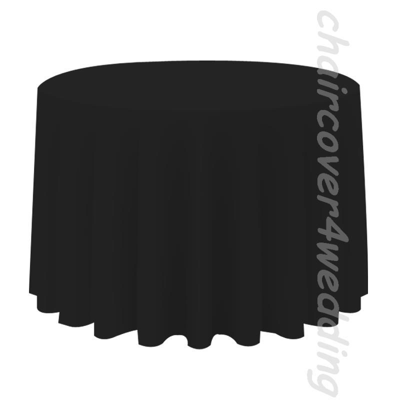 "132"" Round Table Cloth Polyester Black"