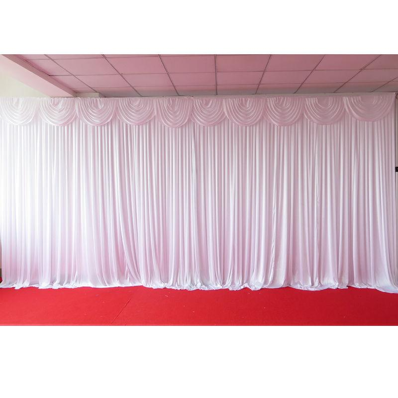 Silk Backdrop Curtain with swags (6m x 4m) White