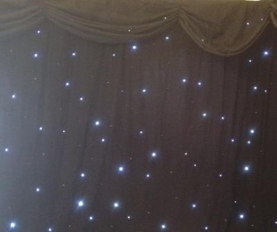 STARLIGHT LED BACKDROP WITH SILK OVERLAY AND SWAG- BLACK