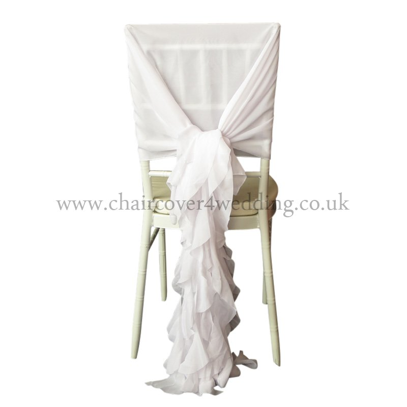 CHIFFON HOOD WITH RUFFLES White