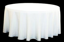 "90"" Round Table Cloth Polyester White"